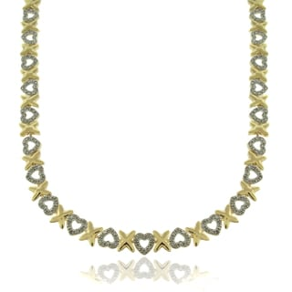 Finesque 14k Gold Overlay 1/10ct TDW Diamond Hearts and 'X' Necklace