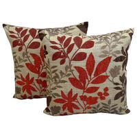Bristol Chenille Jacquard 18-inch x 18-inch Floral Throw Pillows (Set of 2)