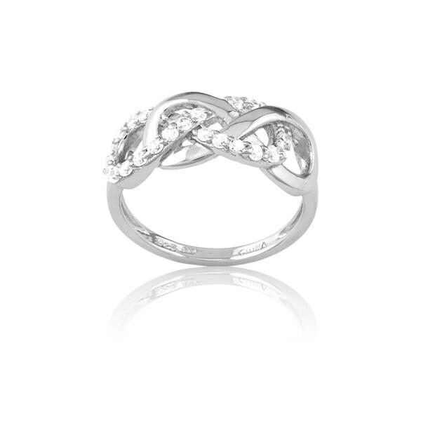 La Preciosa Sterling Silver Cubic Zirconia Interlocking Infinity Ring