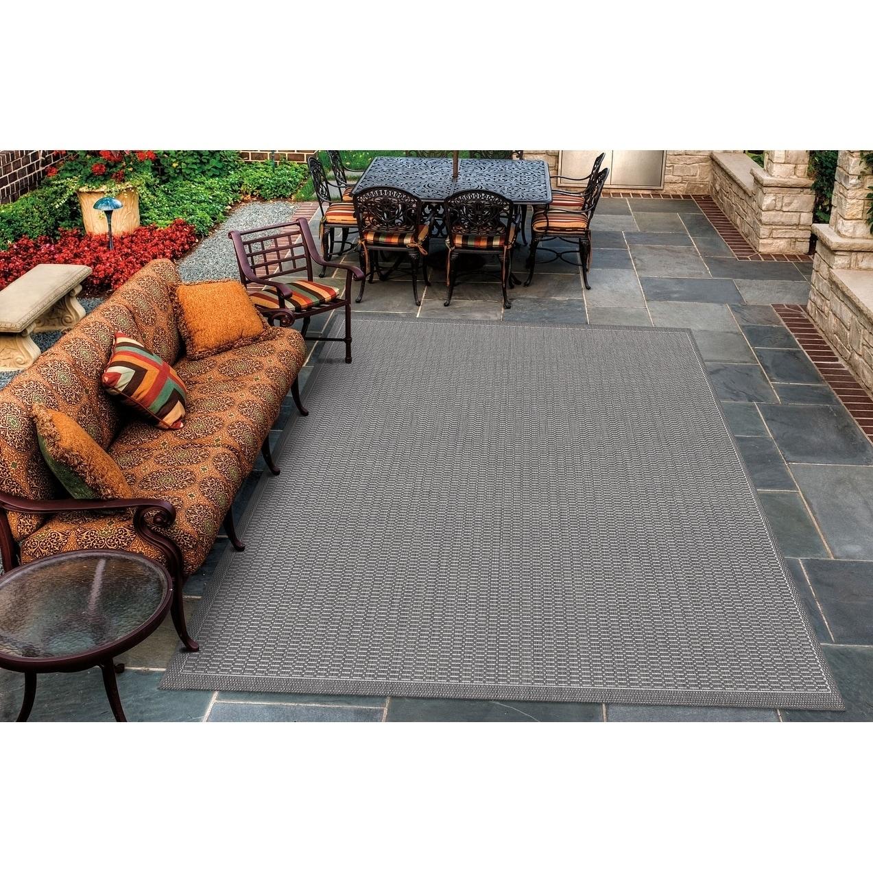 Pergola Deco Grey-White Indoor/ Outdoor Area Rug - 86 x 13 (86 x 13 - Grey/White)