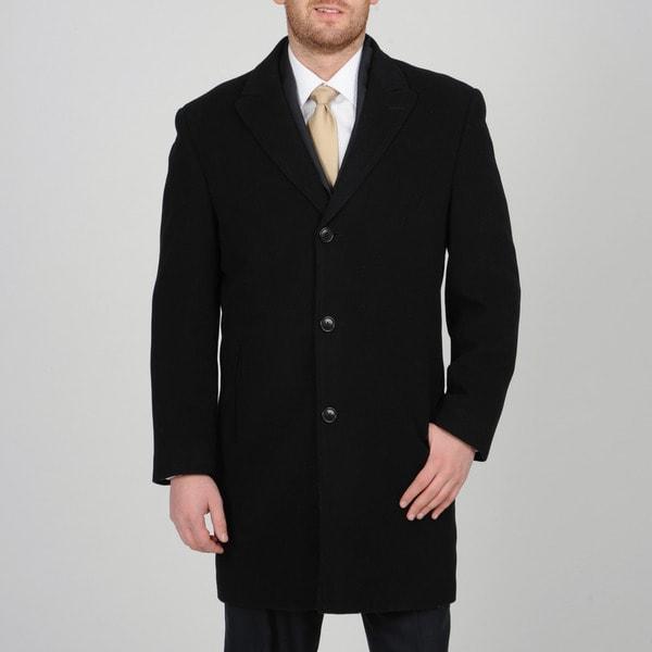 Alfani Men's Black Wool-cashmere Button-front Carcoat