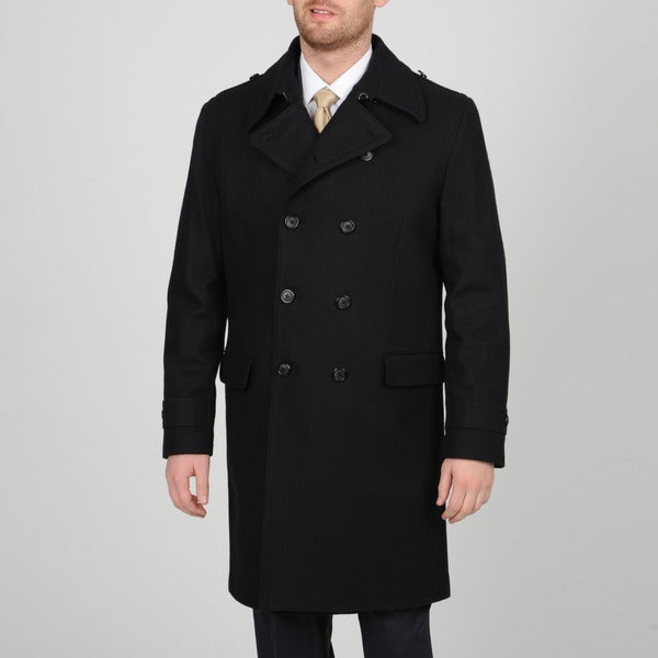 Alfani Men's Black Wool-blend Double Breasted Peacoat - Free ...
