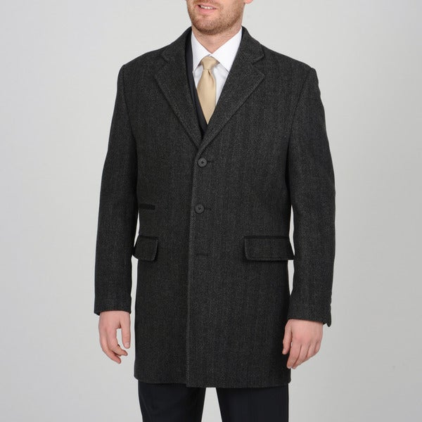 Tasso Elba Men's Charcoal Wool Herringbone Car Coat - Free