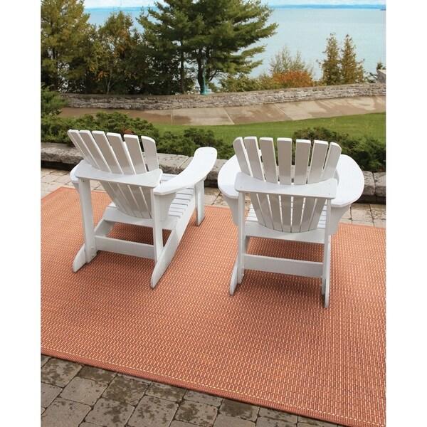 Pergola Deco Terracotta-Natural Indoor/Outdoor Area Rug - 7'6 x 10'9