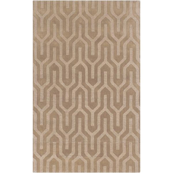 Hand-crafted Vanilla Aztec Geometric Beige Wool Rug (8' x 11')