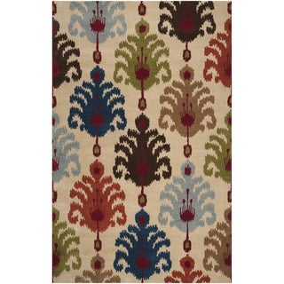 Hand-tufted Bright Ikat Desert Sand Wool Rug (9' x 13')
