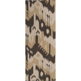 Hand-woven Ikat Chiclayo Brown Wool Flatweave Rug (2'6 x 8')