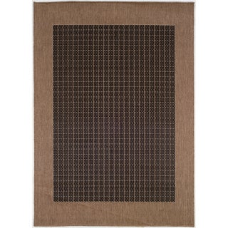 Recife Checkered Field Black-Cocoa Indoor/Outdoor Runner Rug - 2'3 x 11'9