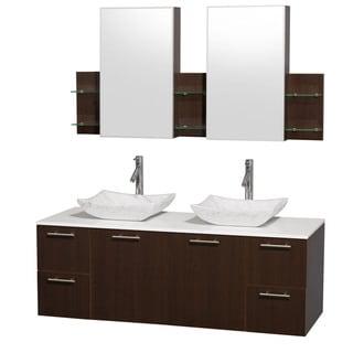 Wyndham Collection 'Amare' 60-inch Espresso/ White Top/ Carrera Sink Vanity Set
