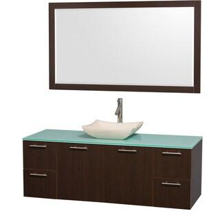 Wyndham Collection 'Amare' 60-inch Espresso/ Green Top/ Ivory Sink Vanity Set