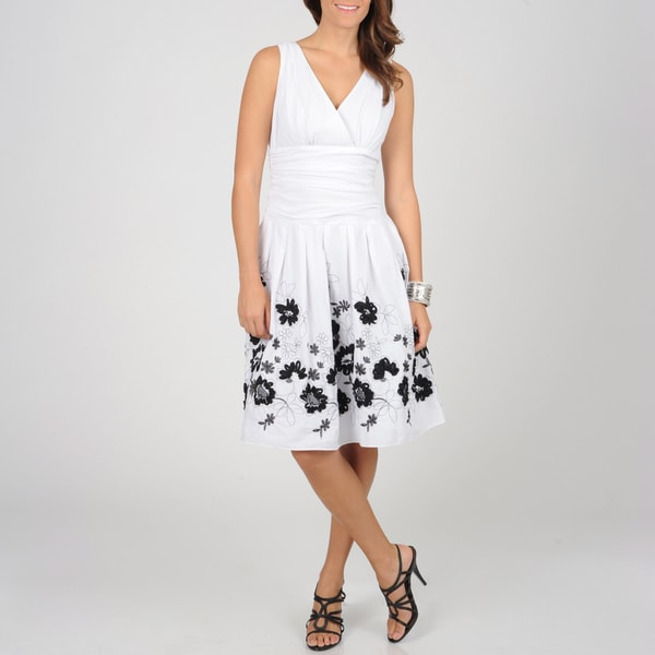 S.L. Fashions Women's White/ Black Floral Cotton Sundress