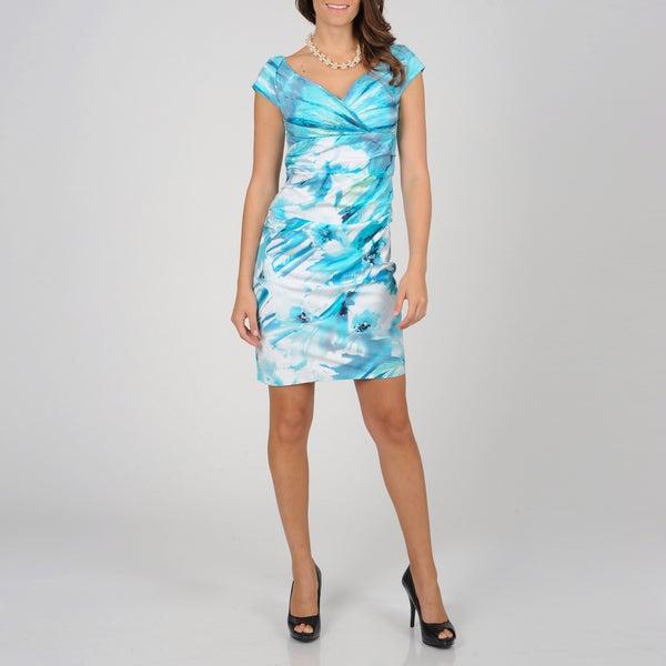 S.L. Fashions Women's Watercolor Floral Sheath Dress