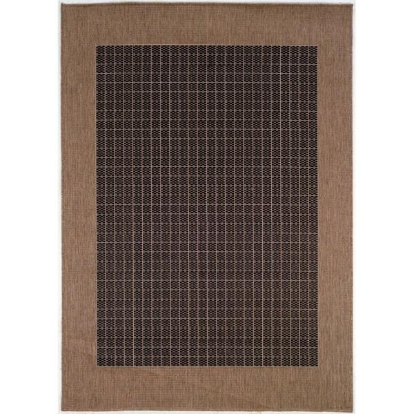 Checkered Outdoor Rug: Shop Couristan Recife Checkered Field/Black-Cocoa Indoor