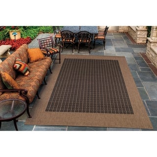 Couristan Recife Checkered Field/Black-Cocoa Indoor/Outdoor Rug - 5'10 x 9'2