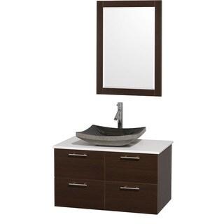 Wyndham Collection 'Amare' 36-inch Espresso/ White Top/ Granite Sink Vanity Set