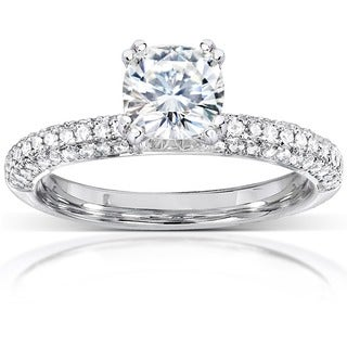 Annello by Kobelli 14k White Gold 1 1/3ct TGW Cushion-cut Moissanite and Diamond Micro-pave Engagement Ring