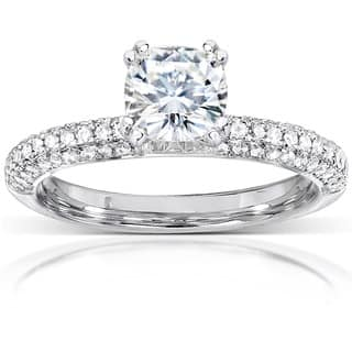 Annello by Kobelli 14k White Gold 1 1/3ct TGW Cushion-cut Moissanite (HI) and Diamond Micro-pave Engagement Ring|https://ak1.ostkcdn.com/images/products/7710283/P15116068.jpg?impolicy=medium