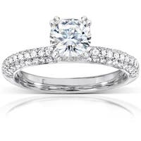 Annello by Kobelli 14k White Gold 1 1/3ct TGW Cushion-cut Moissanite (HI) and Diamond Micro-pave Engagement Ring