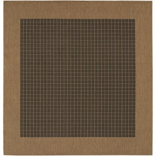 "Recife Checkered Field/ Black Cocoa Square Rug (7'6"")"