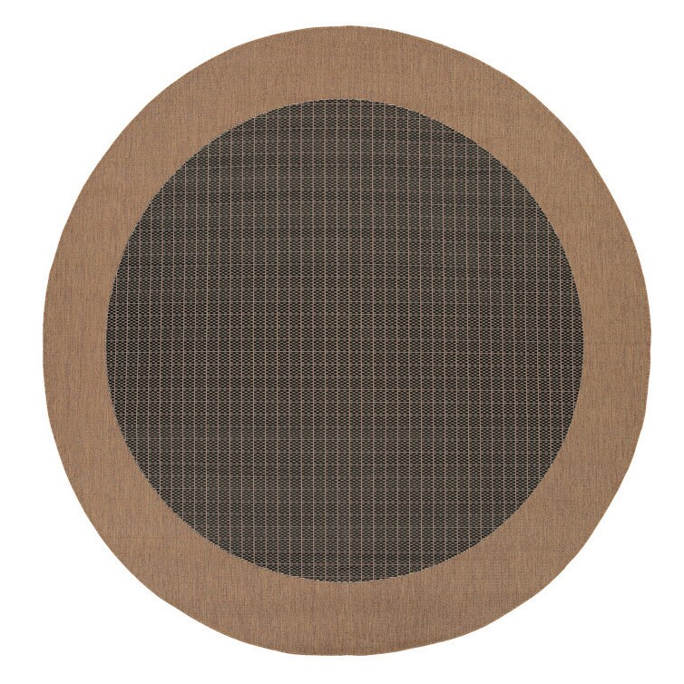 Couristan INC Recife Checkered Field/ Black Cocoa Round R...