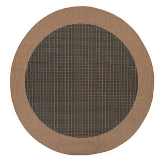 "Recife Checkered Field/ Black Cocoa Round Rug (8'6"")"
