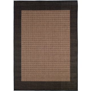 "Recife Checkered Field/ Cocoa Black Runner Rug (2'3"" x 11'9"")"