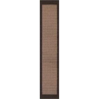 Recife Checkered Field Cocoa-Black Indoor/Outdoor Runner Rug - 2'3 x 11'9
