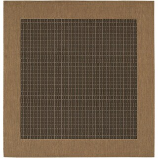 "Recife Black/ Cocoa Checkered Indoor/Outdoor Area Rug - 8'6"" x 8'6"""