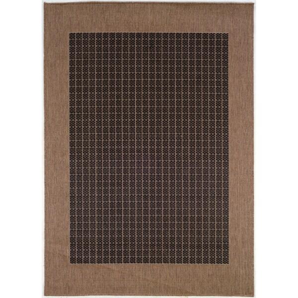 "Recife Checkered Field/ Black Cocoa Rug (8'6"" x 13') - 8'6 x 13'"