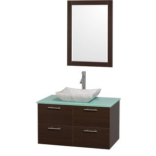 Wyndham Collection 'Amare' 36-inch Espresso/ Green Top/ Carrera Sink Vanity Set