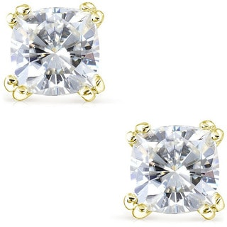 Annello by Kobelli 14k Gold Cushion-cut Moissanite Stud Earrings