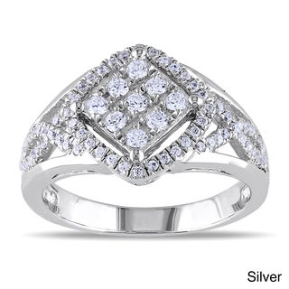 Miadora Rose or White Gold-plated Silver Cubic Zirconia Criss-cross Ring