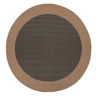 """Recife Checkered Field/ Black Cocoa Round Rug (7'6"""")"""