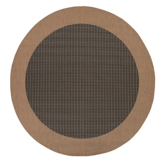 "Pergola Quad Black-Cocoa Indoor/Outdoor Round Rug - 7'6"" Round"