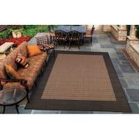 Pergola Quad Cocoa-Black Indoor/Outdoor Area Rug - 8'6 x 13'