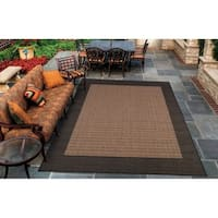 Pergola Quad Cocoa-Black Indoor/Outdoor Area Rug - 3'9 x 5'5
