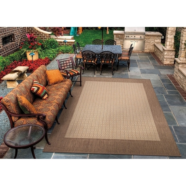 Pergola Quad Natural-Cocoa Indoor/Outdoor Area Rug - 7'6 x 10'9