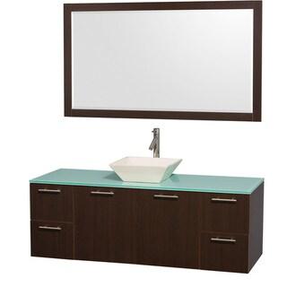 Wyndham Collection 'Amare' 60-inch Espresso/ Green Top/ Bone Sink Vanity Set