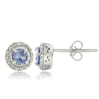 Glitzy Rocks Glitzy Rocks Silver Tanzanite and Diamond Accent Stud Earrings