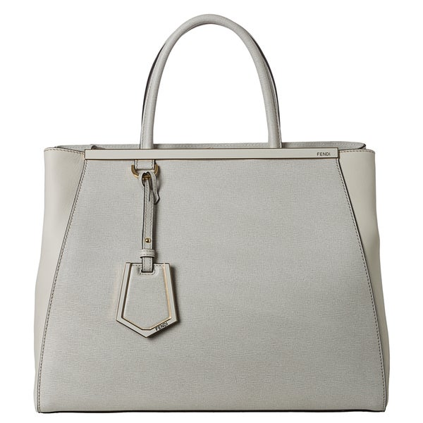Fendi '2Jours' Medium Cream Saffiano and Vitello Leather Shopper Bag