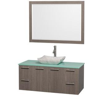Wyndham Collection 'Amare' 48-inch Oak Grey/ Green Top/ Carrera Sink Vanity Set