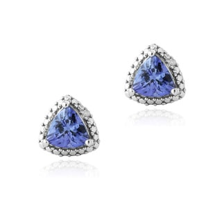 Glitzy Rocks Glitzy Rocks Silver Tanzanite and Diamond Accent Stud Earrings