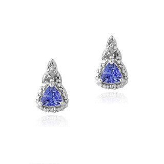 Glitzy Rocks Sterling Silver Tanzanite and Diamond Accent Earrings
