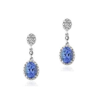Glitzy Rocks Sterling Silver Tanzanite and Diamond Accent Dangle Earrings