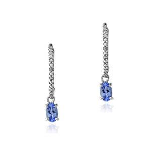 Glitzy Rocks Sterling Silver Tanzanite and Diamond Accent Earrings