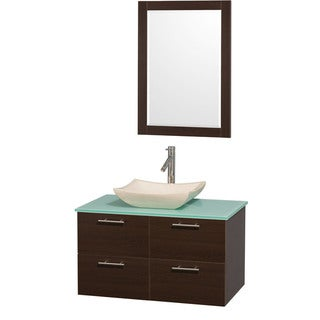 Wyndham Collection Amare Espresso 36 inch Single Bathroom Vanity Set - Green Top/Ivory Marble Sink