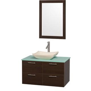 Wyndham Collection Amare Espresso 36 inch Single Bathroom Vanity Set - Green Top/Ivory Marble Sink