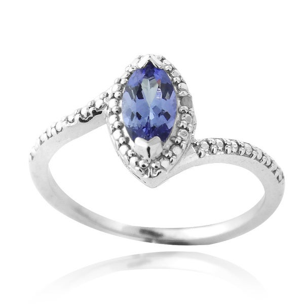 Glitzy Rocks Sterling Silver Marquise-cut Tanzanite and Diamond Ring