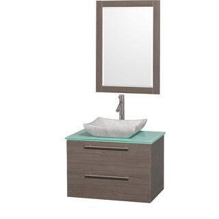 Wyndham Collection 'Amare' 30-inch Grey Oak/ Green Top/ Carrera Sink Vanity Set