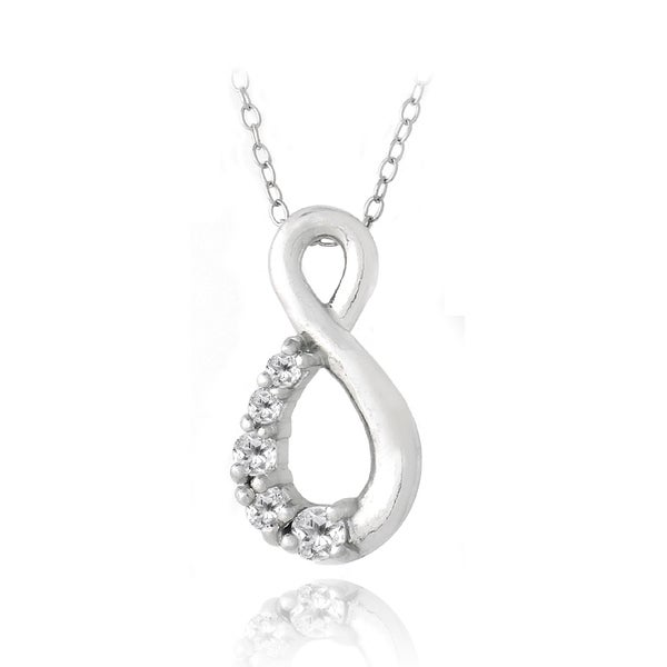 Glitzy Rocks Sterling Silver White Topaz Infinity Necklace